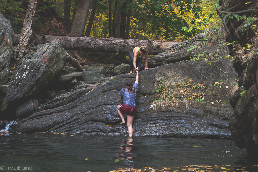 These 2 girls fulfilled an item on their Philadelphia Bucket list by jumping into Devils Pool